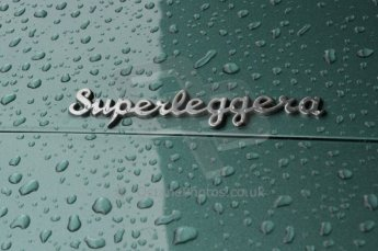 © Octane Photographic 2011 – Goodwood Revival 17th September 2011. Aston Martin Superleggera badge. Digital Ref : 0179LW7D7332