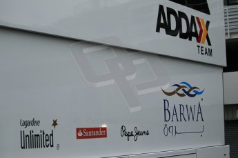 © Octane Photographic 2011. GP2 Official pre-season testing, Silverstone, Tuesday 5th April 2011. Addax logo on transporter. Digital Ref : 0039CB1D6115