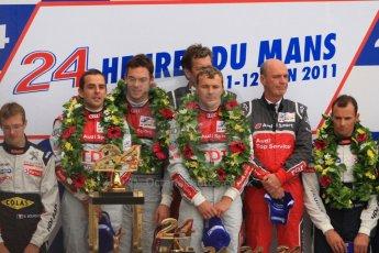 © Octane Photographic 2011. Le Mans finish line and podium - Sunday 11th June 2011. La Sarthe, France. Digital Ref : 0263cb7d1275