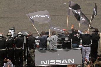 © Octane Photographic 2011. Le Mans finish line and podium - Sunday 11th June 2011. La Sarthe, France. Digital Ref : 0263lw7d7738