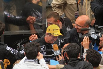 © Octane Photographic 2011. Le Mans finish line and podium - Sunday 11th June 2011. La Sarthe, France. Digital Ref : 0263lw7d7780