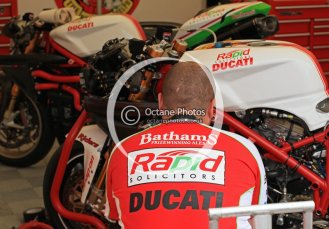 © Octane Photographic 2011. NW200, 17th May 2011. Ducatis in the pits. Digital ref : LW7D9029