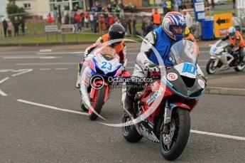 © Octane Photographic 2011. NW200, 17th May 2011 Newcomers practice. Conor Cummins, Kawasaki - McAdoo Kawasaki Racing; Ornella Ongaro, Suzuki - Yohann Motor Sport. Digital ref : LW7D9087
