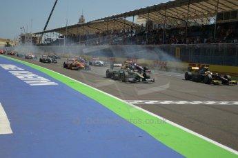 © Octane Photographic Ltd. 2011. European Formula1 GP, Saturday 25th June 2011. GP2 Race 1. Lights off - wheels spinning - race start. Digital Ref:  0085CB1D7890