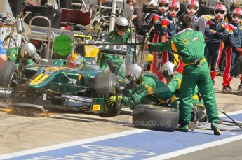 © Octane Photographic Ltd. 2011. European Formula1 GP, Saturday 25th June 2011. GP2 Race 1. Esteban Gutierez in the Lotus ART pit for a tyre change. Digital Ref:  0085CB1D7981