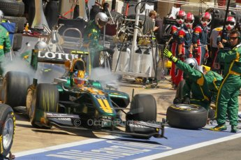© Octane Photographic Ltd. 2011. European Formula1 GP, Saturday 25th June 2011. GP2 Race 1. Esteban Gutierez exiting the Lotus ART pit after a tyre change. Digital Ref:  0085CB1D7992