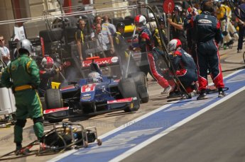 © Octane Photographic Ltd. 2011. European Formula1 GP, Saturday 25th June 2011. GP2 Race 1. Sam Bird exiting the iSport International pit after a tyre change. Digital Ref:  0085CB1D8073