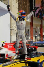 © Octane Photographic Ltd. 2011. European Formula1 GP, Saturday 25th June 2011. GP2 Race 1. Romain Grosjean triumphant after the win in the DAMS car. Digital Ref:  0085CB1D8253