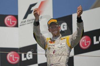 © Octane Photographic Ltd. 2011. European Formula1 GP, Saturday 25th June 2011. GP2 Race 1. Romain Grosjean enters the podium stage for DAMS.  Digital Ref:  0085CB1D8324