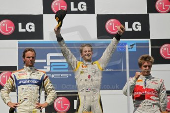 © Octane Photographic Ltd. 2011. European Formula1 GP, Saturday 25th June 2011. GP2 Race 1. Romain Grosjean, Giedo Van der Garde and Davide Valsecchi triumphant. Digital Ref:  0085CB1D8373