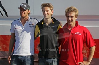 © Octane Photographic Ltd. 2011. European Formula1 GP, Saturday 25th June 2011. GP2 Race 1. Romain Grosjean, Giedo Van der Garde and Davide Valsecchi post conference portrait. Digital Ref: 0085CB1D8458