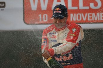 © North One Sport Ltd 2011 / Octane Photographic Ltd 2011. 13th November 2011 Wales Rally GB, Podium. Daniel Elena sprays the Champagne. Digital Ref : 0201cb1d9828