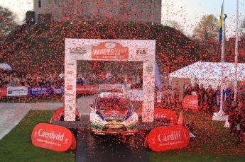 © North One Sport Ltd 2011 / Octane Photographic Ltd 2011. 13th November 2011 Wales Rally GB, Podium. Rally winners Jari-Matti Latvala and Miikka Antilla arrive on the Cardiff podium in their Ford Fiesta RS WRC. Digital Ref : 0201lw7d0699