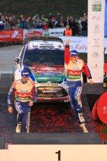 © North One Sport Ltd 2011 / Octane Photographic Ltd 2011. 13th November 2011 Wales Rally GB, Podium. Rally winners Jari-Matti Latvala and Miikka Antilla leap onto the presentation podium. Digital Ref :