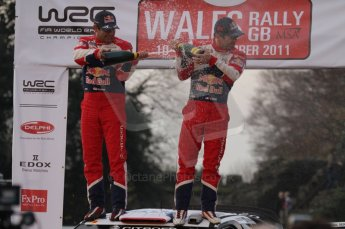 © North One Sport Ltd 2011 / Octane Photographic Ltd 2011. 13th November 2011 Wales Rally GB, Podium. Newly Crowned 8 times champions Sebastien Loeb and co diver Daniel Elena spray the Champagne from the roof of their Citroen DS3 WRC. Digital Ref : 0201lw7d0153