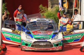© North One Sport Ltd.2011/Octane Photographic Ltd. WRC Germany – Final Podium - Sunday 21st August 2011. Mikko Hirvonen and Jarmo Lehtinen - Ford Fiesta RS WRC. Digital Ref : 0153CB1D6362