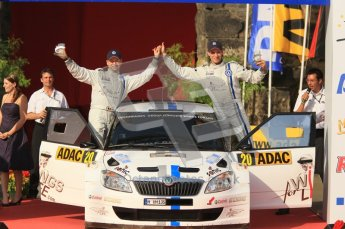 © North One Sport Ltd.2011/Octane Photographic Ltd. WRC Germany – Final Podium - Sunday 21st August 2011. Hans Wiejs Jr and Bjorn Degandt - Skoda Fabia S2000. Digital Ref : 0153CB1D6519