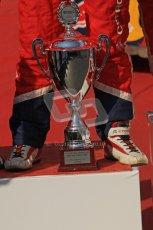 © North One Sport Ltd.2011/Octane Photographic Ltd. WRC Germany – Final Podium - Sunday 21st August 2011. 2nd place trophy at the feet of Sebastien Loeb. Digital Ref : 0153LW7D0119