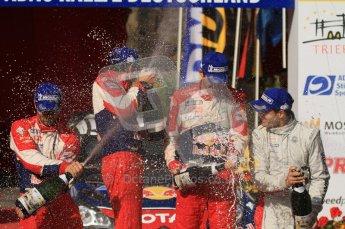 © North One Sport Ltd.2011/Octane Photographic Ltd. WRC Germany – Final Podium - Sunday 21st August 2011. Champaign fight - Sebastien Loeb, Sebastien Ogier, Julien Ingrassia and Daniel Sordo. Digital Ref : 0153LW7D0191