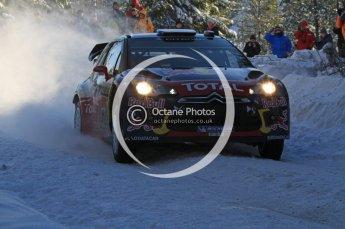 ©  North One Sport Limited 2011/Octane Photographic. 2011 WRC Sweden SS5 Vargassen lI, Friday 11th February 2011, Sebastien Loeb/Daniel Elena, Citroen DS3 WRC. Digital ref : 0141LW7D8746