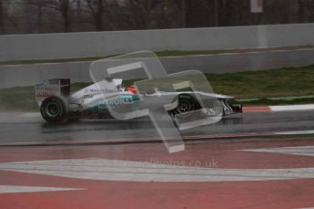 World © Octane Photographic 2011. Formula 1 testing Saturday 12th March 2011 Circuit de Catalunya. Mercedes MGP W02 - Michael Shumacher. Digital ref : 0018LW7D5794