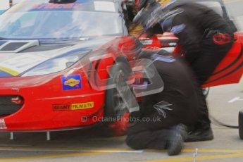 © Octane Photographic Ltd. Britcar MSA British Endurance Championship practice session 21st April 2012. Donington Park. Richard Adams/David Green/Marton Byford, Lotus Evora pitstop. Digital Ref : 0298lw7d6588