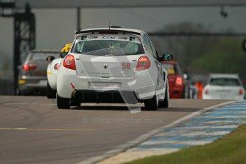 © Octane Photographic Ltd. BritCar Production Cup Championship race. 21st April 2012. Donington Park. Bob Stockley, Mid Life Crisis Racing, Clio. Digital Ref : 0300lw1d1994
