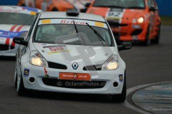 © Octane Photographic Ltd. BritCar Production Cup Championship race. 21st April 2012. Donington Park. Bob Stockley, Mid Life Crisis Racing, Clio. Digital Ref : 0300lw1d2390