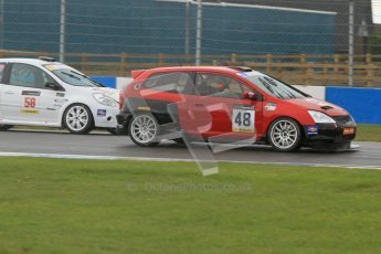 © Octane Photographic Ltd. BritCar Production Cup Championship race. 21st April 2012. Donington Park. Tim Saunders, Honda Civic Type R and Bob Stockley, Mid Life Crisis Racing, Clio.Digital Ref : 0300lw7d7246