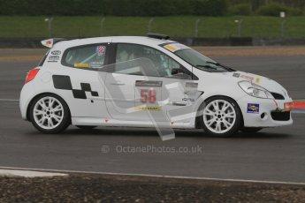 © Octane Photographic Ltd. BritCar Production Cup Championship race. 21st April 2012. Donington Park. Bob Stockley, Mid Life Crisis Racing, Clio.Digital Ref : 0300lw7d7261