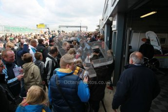 © Octane Photographic Ltd. BTCC - Round Two - Donington Park - Race 1. Sunday 15th April 2012. The post race crowds gather in the pitlane. Digital ref : 0295lw1d8048
