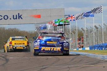 © Octane Photographic Ltd. BTCC - Round Two - Donington Park - Race 1. Sunday 15th April 2012. Andrew Jordan's Honda Civic races through the heat haze left by Dave Newsham's Vauxhall Vectra. Digital ref : 0295lw7d3631