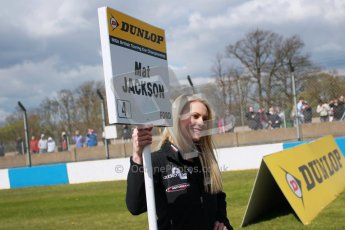 © Octane Photographic Ltd. BTCC - Round Two - Donington Park - Race 2. Sunday 15th April 2012. Mat Jackson's grid girl waiting for the grid to form up. Digital ref : 0296lw1d8093