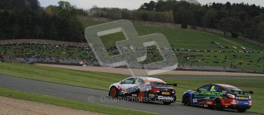 © Octane Photographic Ltd. BTCC - Round Two - Donington Park - Race 2. Sunday 15th April 2012. Adam Morgan and Andy Neate head into the Craner Curves. Digital ref : 0296lw7d4814