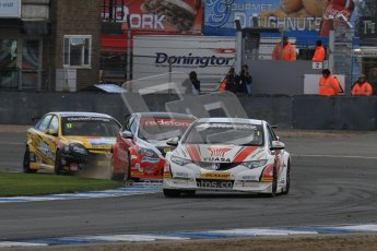 © Octane Photographic Ltd. BTCC - Round Two - Donington Park - Race 2. Sunday 15th April 2012. Matt Neal under intense pressure form Mat Jackson and Dave Newsham. Digital ref : 0296lw7d4892