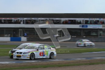 © Octane Photographic Ltd. BTCC - Round Two - Donington Park - Race 2. Sunday 15th April 2012. Tom Onslow-Cole and Tony Gillham go toe to tow out of Redgate. Digital ref : 0296lw7d5011