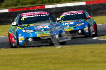 © Octane Photographic Ltd./Chris Enion. British Touring Car Championship – Round 6, Snetterton, Saturday 11th August 2012. Free Practice 1. Andy Neate and Jason Plato - MG KX Momentum Racing, MG6. Digital Ref : 0452ce1d0004