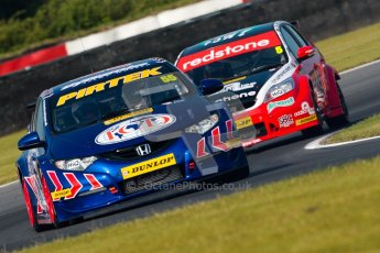 © Octane Photographic Ltd./Chris Enion. British Touring Car Championship – Round 6, Snetterton, Saturday 11th August 2012. Free Practice 1. Jeff Smith - Pirtek Racing, Honda Civic. and Aron Smith	 - Redstone Racing, Ford Focus. Digital Ref : 0452ce1d0024