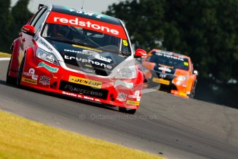 © Octane Photographic Ltd./Chris Enion. British Touring Car Championship – Round 6, Snetterton, Saturday 11th August 2012. Free Practice 1. Aron Smith and Redstone Racing, Ford Focus and Frank Wrathall - Dynojet, Toyota Avensis. Digital Ref : 0452ce1d0176