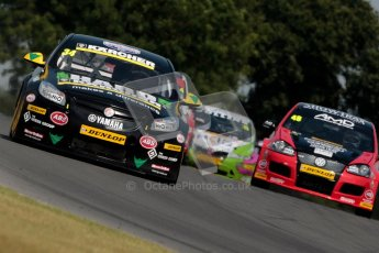 © Octane Photographic Ltd./Chris Enion. British Touring Car Championship – Round 6, Snetterton, Sunday 12th August 2012. Race 1. Tony Gilham	 - Team HARD, Honda Civic and Ollie Jackson - AmD Tuning.com, VW Golf MK5. Digital Ref : 0455ce1d0077
