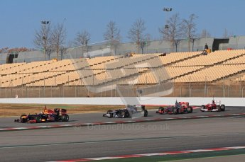 © 2012 Octane Photographic Ltd. Barcelona Winter Test 1 Day 2 - Wednesday 21st February 2012. Atmosphere - A rare moment during testing with four cars grouped up together on track. Digital Ref : 0227lw7d5986