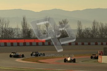 © 2012 Octane Photographic Ltd. Barcelona Winter Test 1 Day 2 - Wednesday 21st February 2012. Atmosphere - A rare moment during testing with four cars grouped up together on track. Digital Ref : 0227lw7d6010