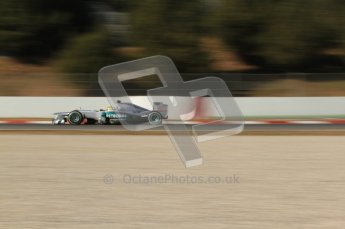 © 2012 Octane Photographic Ltd. Barcelona Winter Test 1 Day 2 - Wednesday 21st February 2012. Mercedes W03 - Nico Rosberg. Digital Ref : 0227lw7d6270