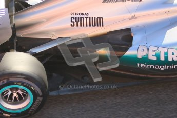© 2012 Octane Photographic Ltd. Barcelona Winter Test 1 Day 3 - Thursday 23rd February 2012. Mercedes W03 - Michael Schumacher - exhaust detail. Digital Ref : 0228cb1d9762