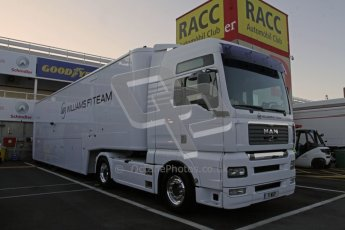 © 2012 Octane Photographic Ltd. Barcelona Winter Test 1 Day 3 - Thursday 23rd February 2012. Williams transporter Digital Ref : 0228lw7d2695