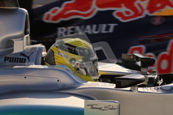 © 2012 Octane Photographic Ltd. Barcelona Winter Test 2 Day 1 - Thursday 1st March 2012. Mercedes W03 - Nico Rosberg with Mark Webber's Red Bull RB8 in the background. Digital Ref : 0231lw7d8606