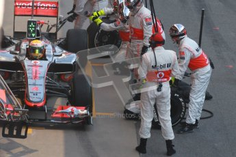 © 2012 Octane Photographic Ltd. Barcelona Winter Test 2 Day 2 - Friday 2nd March 2012. McLaren MP4/27 - Lewis Hamilton with Mclaren's new pitstop control system in action. Digital Ref :