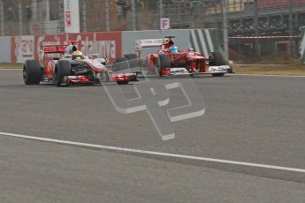 © 2012 Octane Photographic Ltd. Barcelona Winter Test 2 Day 4 - Sunday 4th March 2012. Ferrari F2012 - Fernando Alonso and McLaren MP4/27 - Lewis Hamilton. Digital Ref : 0234cb1d2904