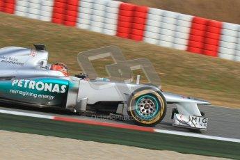 © 2012 Octane Photographic Ltd. Barcelona Winter Test Day 4 - Sunday 4th March 2012. Mercedes W03 - Michael Schumacher. Digital Ref : 0234lw7d4874