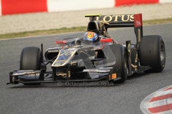 © Octane Photographic Ltd. GP2 Winter testing Barcelona Day 1, Tuesday 6th March 2012. Lotus GP, Esteban Gutierrez. Digital Ref : 0235cb7d0387